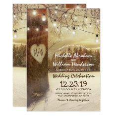 Rustic Xmas Winter Tree Twinkle Lights Wedding Invitation at Zazzle