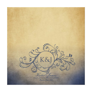 Rustic Yellow and Grey Bohemian Guest Book Canvas