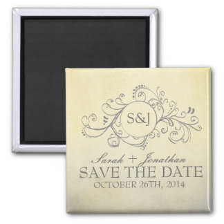 Rustic Yellow and Grey Bohemian Save The Date 2 Inch Square Magnet
