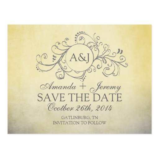 Rustic Yellow and Grey Bohemian Save The Date Postcard