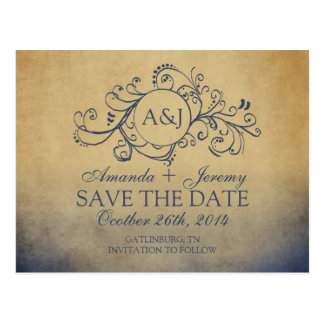 Rustic Yellow and Grey Bohemian Save The Date Post Card