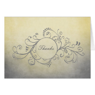 Rustic Yellow and Grey Bohemian Thank You Note Card