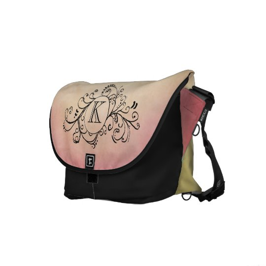 Rustic Yellow and Pink Bohemian  Flourish Courier Bag