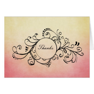 Rustic Yellow and Pink Bohemian Thank You Note Card
