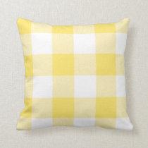 Rustic Yellow and White Buffalo Check Plaid Throw Pillow