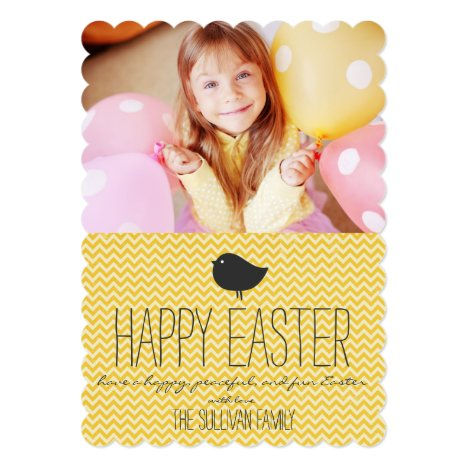Rustic Yellow Chevron Happy Easter Card