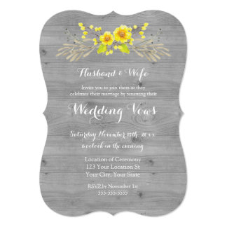 Rustic Yellow Floral Wood Vow Renewal Invitation