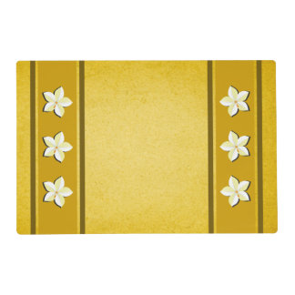Rustic Yellow Gold Brown White Floral Double Sided Placemat