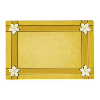 Rustic Yellow Gold Brown White Floral Two Sided Placemat