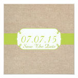 Rustic Yellow Green and Beige Burlap Save The Date Invitations
