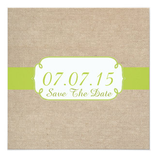 Rustic Yellow Green and Beige Burlap Save The Date 5.25x5.25 Square Paper Invitation Card
