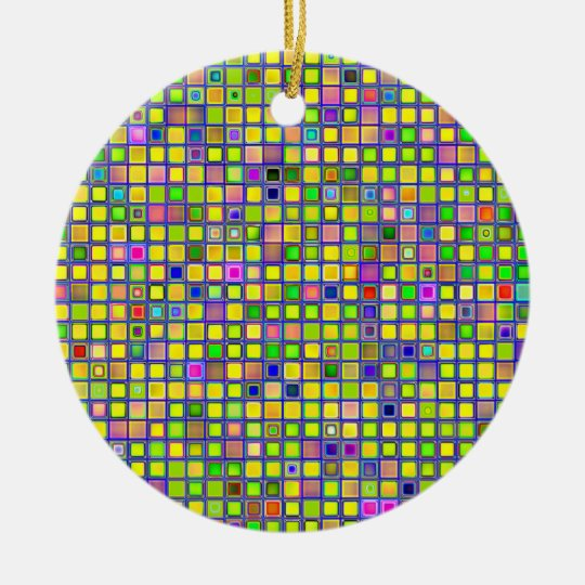 Rustic Yellow Mosaic 'Clay' Tiles Pattern Ceramic Ornament