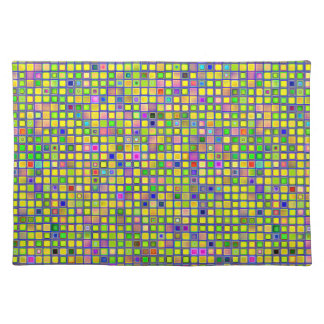 Rustic Yellow Mosaic 'Clay' Tiles Pattern Place Mats