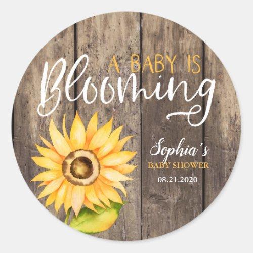 Rustic Yellow Sunflower Baby Shower Favor Classic Round Sticker