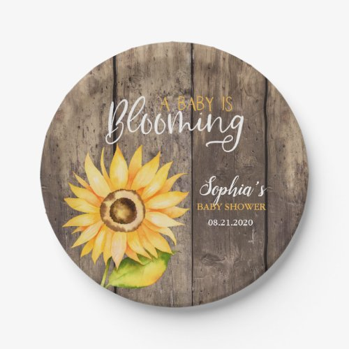 Rustic Yellow Sunflower Baby Shower Paper Plate