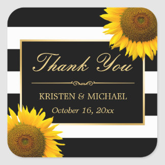 Rustic Yellow Sunflower Black White Thank You Square Sticker
