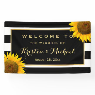 Rustic Yellow Sunflower Black White Wedding Party Banner