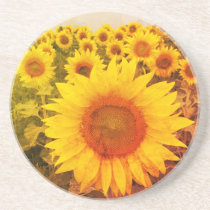 Rustic Yellow Sunflower Coaster