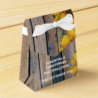 Rustic yellow sunflower country floral wedding favor box