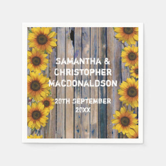 Rustic yellow sunflower country floral wedding standard cocktail napkin