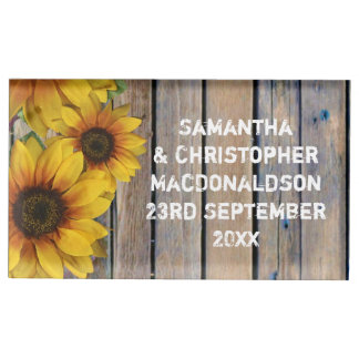 Rustic yellow sunflower country floral wedding table number holder