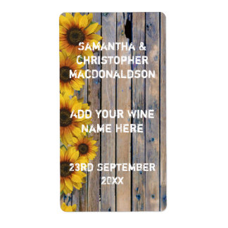Rustic yellow sunflower country floral wine label