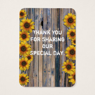 Rustic yellow sunflower favor thank you tag