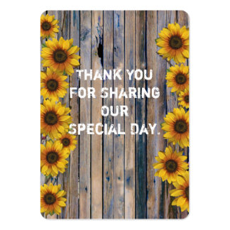 Rustic yellow sunflower favor thank you tag large business cards (Pack of 100)