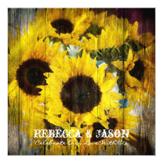 rustic yellow sunflower floral country wedding custom invite