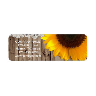 rustic yellow sunflower lace country flower shop custom return address labels