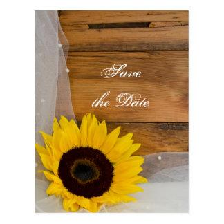 Rustic Yellow Sunflower Veil Wedding Save the Date Postcard