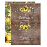 Rustic Yellow Sunflowers Confirmation Invitation