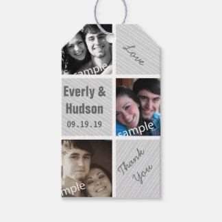Rustic Your Photo Collage Pattern Thank You Tags Pack Of Gift Tags