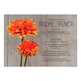 Rustic Zinnia Bridal Shower Invitations