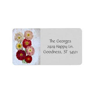 Rústico floral de las flores botánicas del vintage etiqueta de dirección