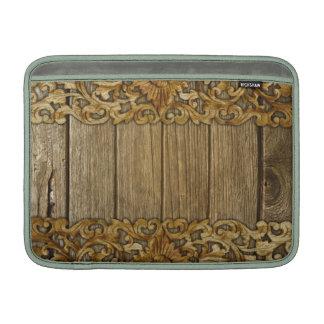 Rústico, floral, tallas, madera, antigüedad, fundas macbook air