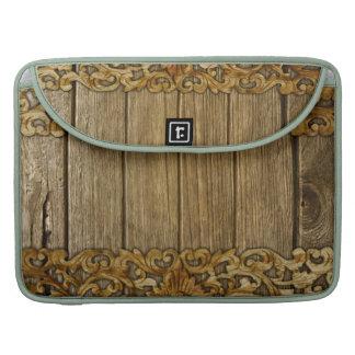 Rústico, floral, tallas, madera, antigüedad, funda macbook pro