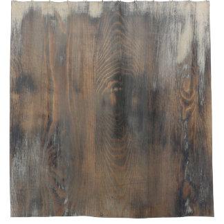 rústico, llevado, madera, marrón, pared, vintage, cortina de baño