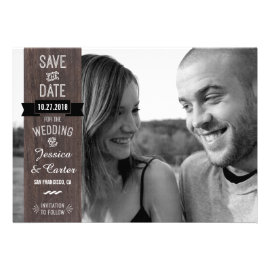 RusticVintage Signage Style Photo Save the Date Custom Announcements