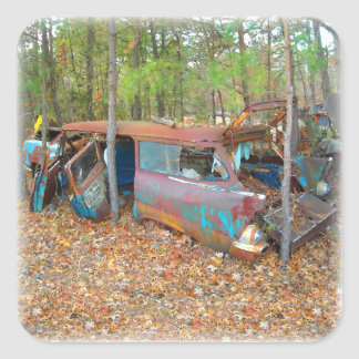 Rusting 57 Chevy Nomad Square Sticker