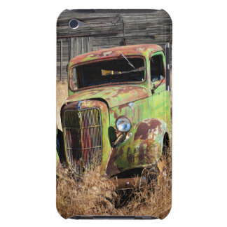 Rusting car in front of abandoned farm barely there iPod case