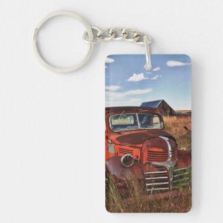 Rusting orange Dodge truck with abandoned farm Double-Sided Rectangular Acrylic Keychain
