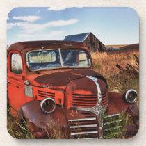 Rusting orange Dodge truck with abandoned farm Drink Coaster