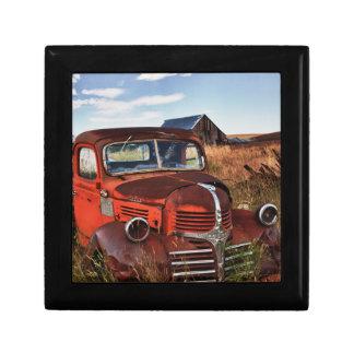 Rusting orange Dodge truck with abandoned farm Keepsake Box