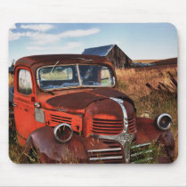 Rusting orange Dodge truck with abandoned farm Mouse Pad