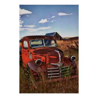Rusting orange Dodge truck with abandoned farm Print