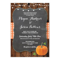 Rusting Wedding Wood Pumpkin Fall Chalk Gingham Invitation