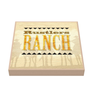 Rustlers Ranch Cowboy western wrapped canvas sign
