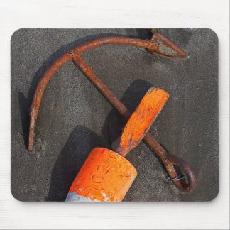 Rusty Anchor And Buoy On A Beach Mouse Pad