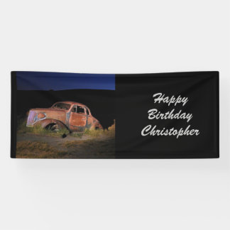 Rusty Antique Car Personalized Birthday Banner